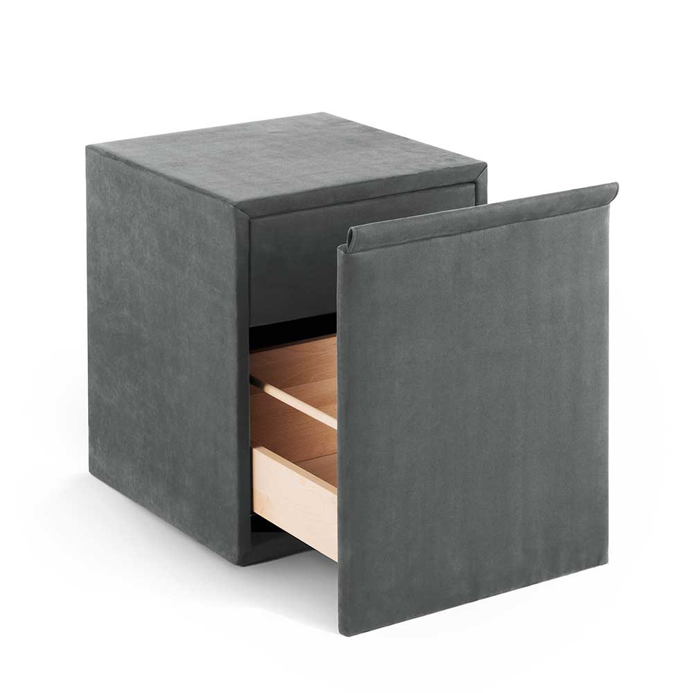 Nachtkonsole in Grau Kunstleder Schublade