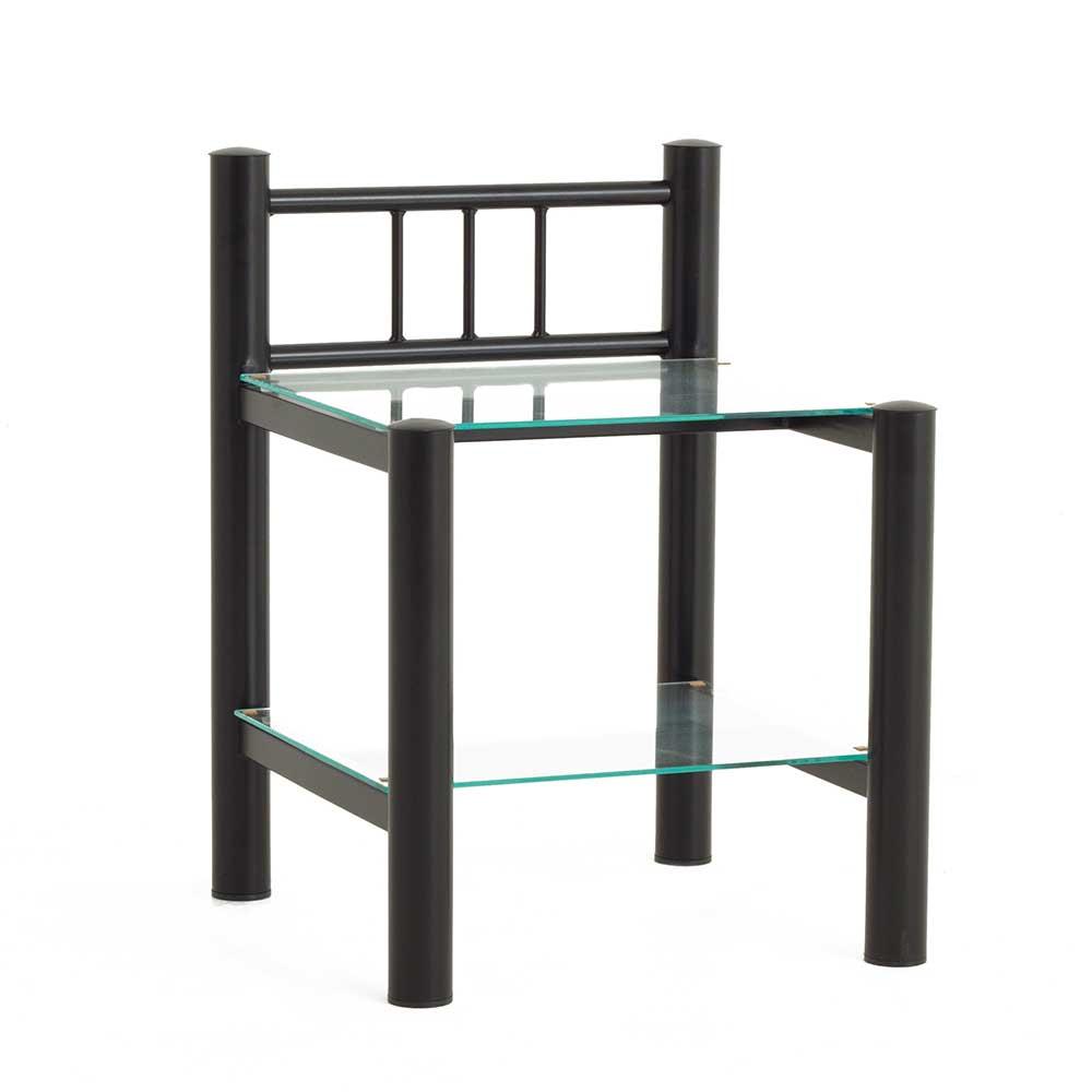 Nachttisch aus Eisen Schwarz Glas