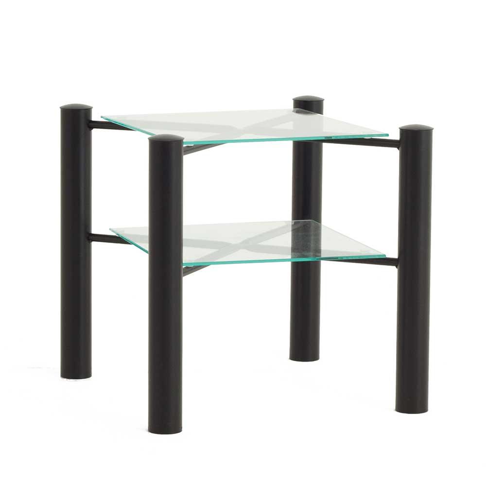 Metall Nachttisch aus Glasplatten 45 cm