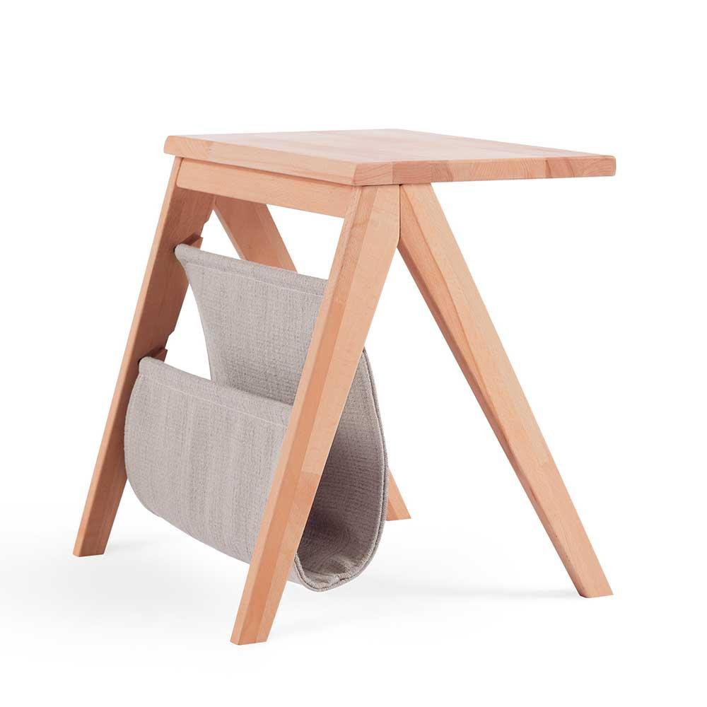 Nachttisch aus Kernbuche Massivholz Perlweiß Stoff