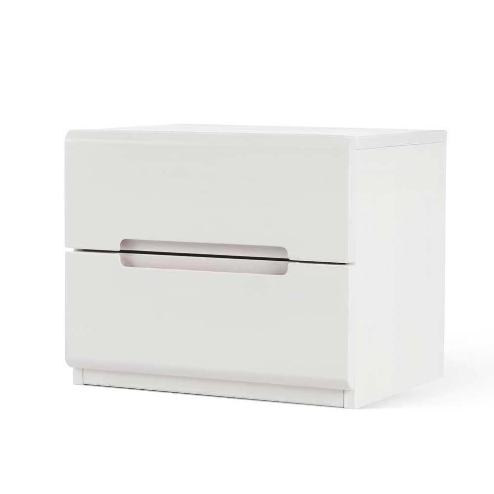 Nachtkonsole aus Buche Massivholz Weiß