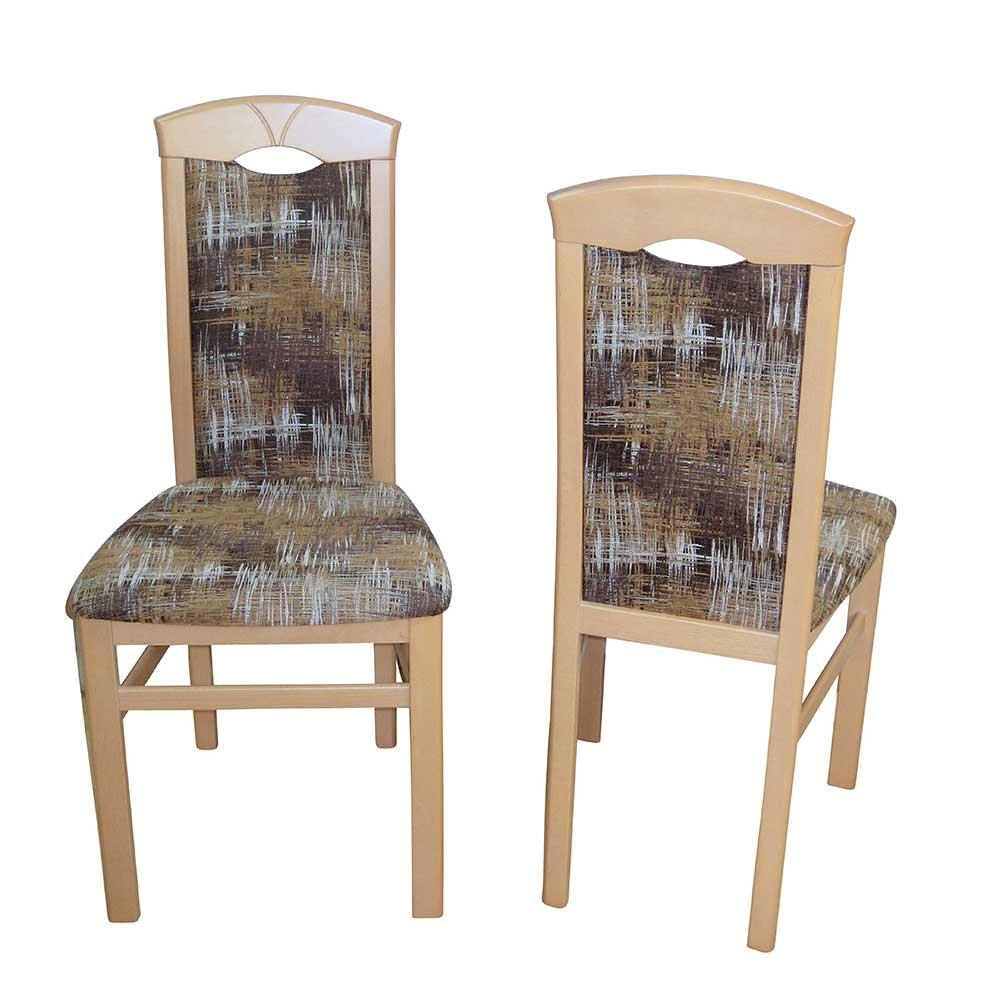 Stuhl Set aus Buche Massivholz Bunt Webstoff (2er Set) | Küche und Esszimmer > Stühle und Hocker > Holzstühle | Buche - Massivholz - Webstoff - Strukturstoff | Möbel4Life