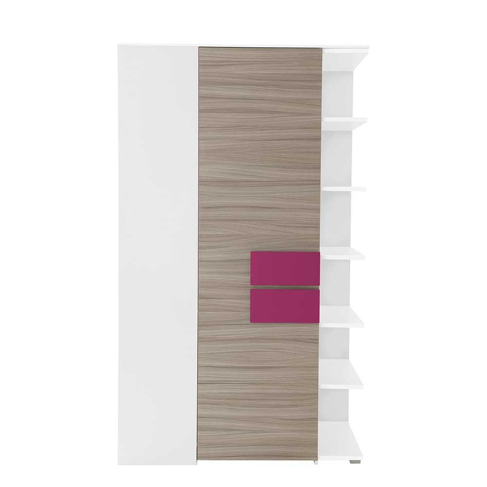 Mädchenzimmer Eckschrank in Holz Pink Weiß Regal