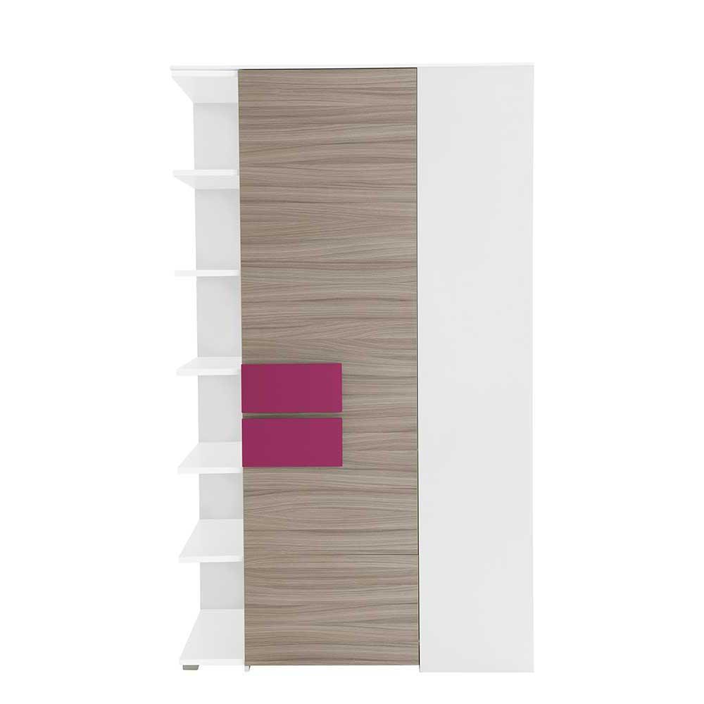 Jugendzimmer Eckschrank in Holz Pink mit Regal | Kinderzimmer > Jugendzimmer > Jugendschränke | Weiß | Holzwerkstoff | Spirinha