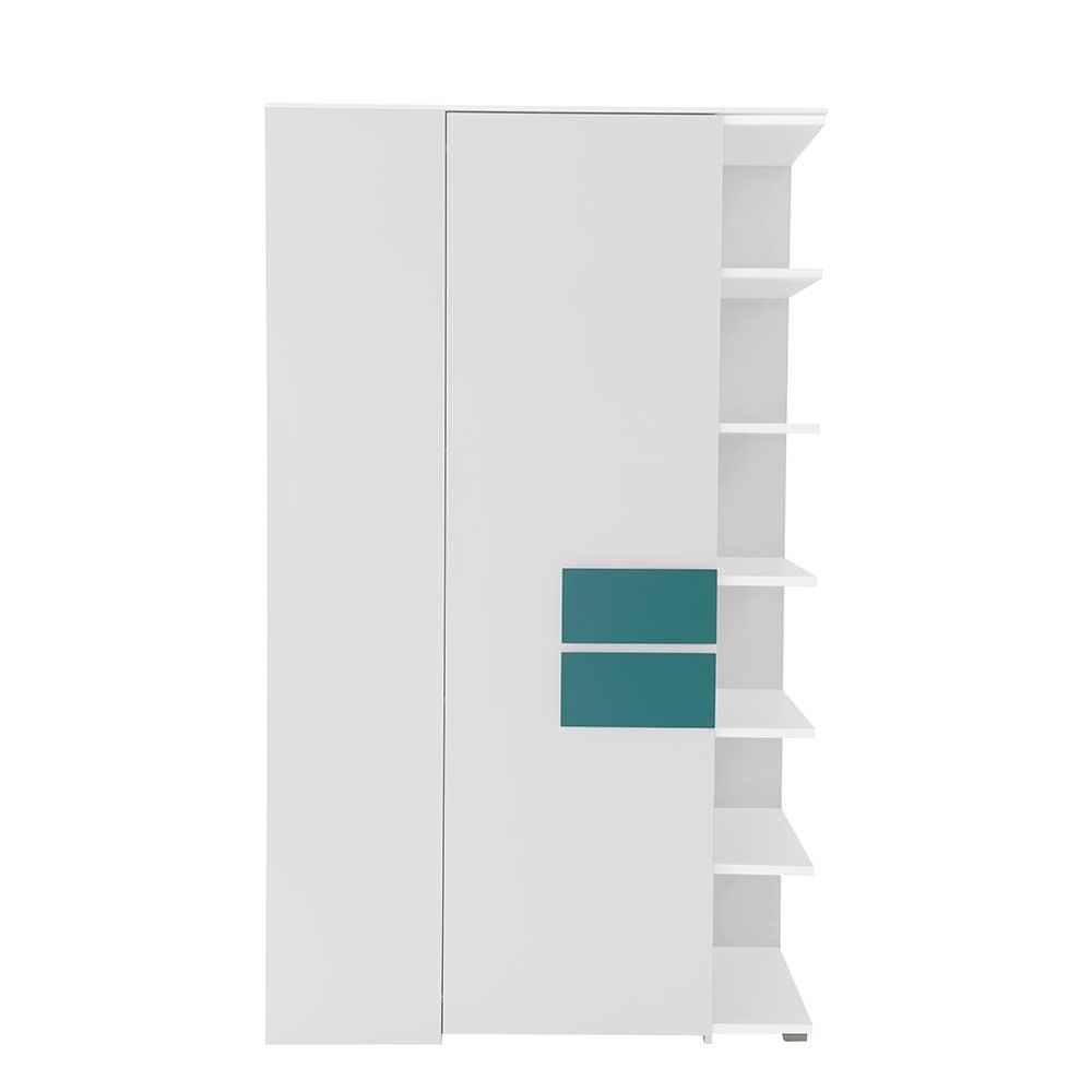 Eckkleiderschrank für Jugendzimmer Weiß Petrol | Kinderzimmer > Jugendzimmer > Jugendschränke | Weiß | Holzwerkstoff | Spirinha