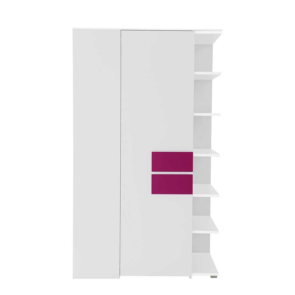 Eckkleiderschrank für Jugendzimmer Weiß Pink | Kinderzimmer > Jugendzimmer > Jugendschränke | Weiß | Holzwerkstoff | Spirinha