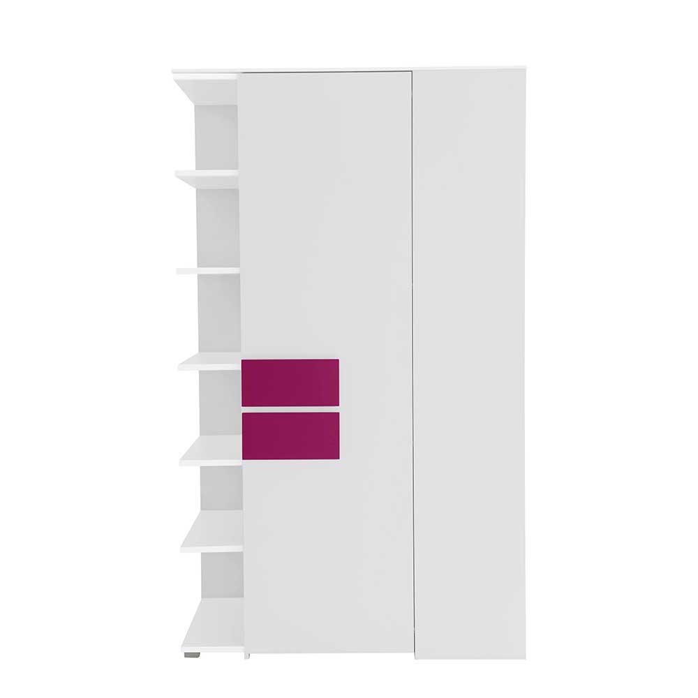 Jugendzimmer Eckschrank in Weiß Pink Tür rechts | Kinderzimmer > Jugendzimmer > Jugendschränke | Spirinha