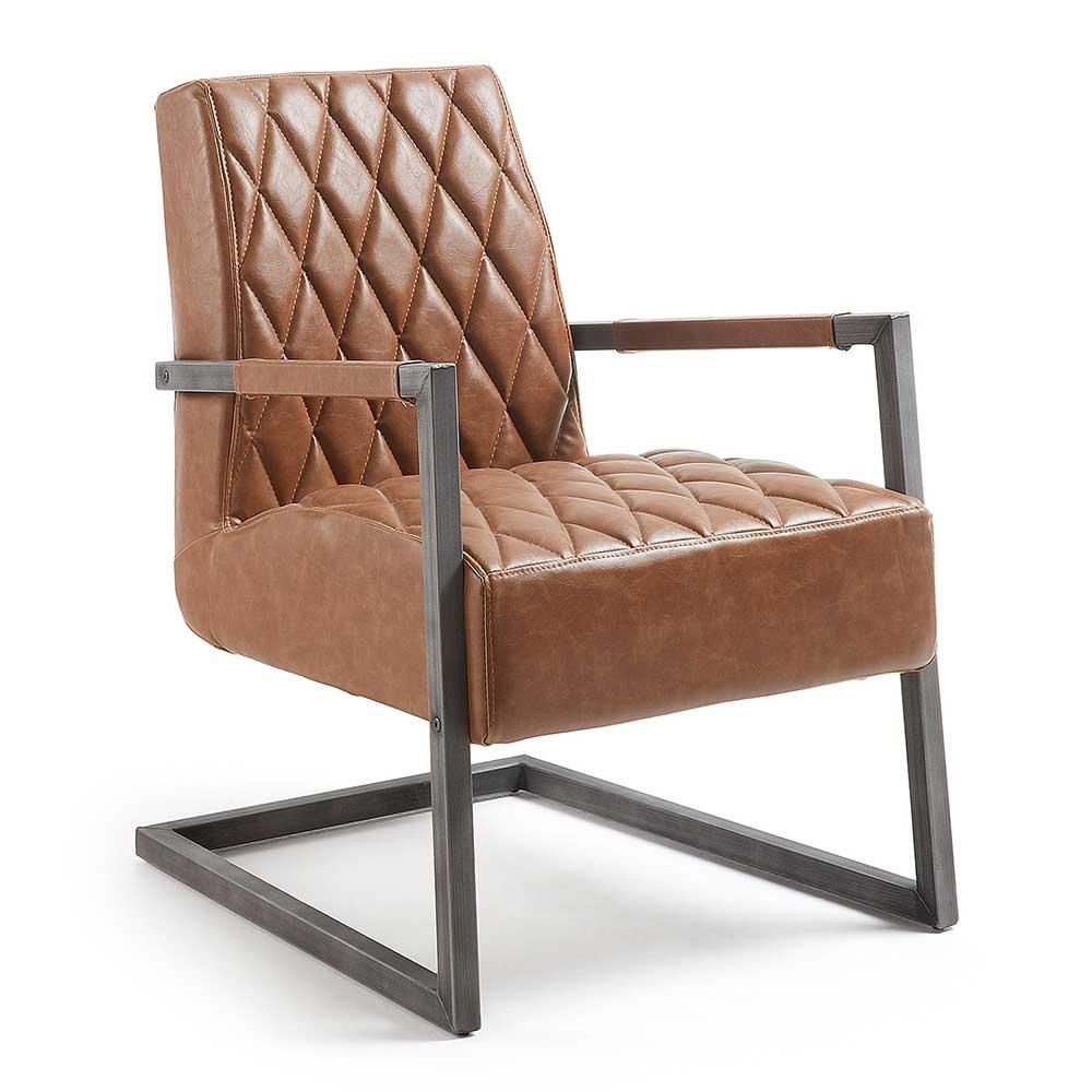 Schwingsessel in Rostfarben Kusntleder Stahl | Wohnzimmer > Sessel > Schwingsessel | 4Home