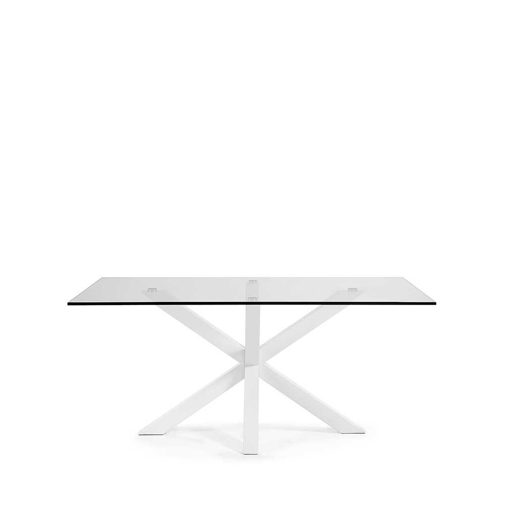 Glastisch in Weiß Stahl | Wohnzimmer > Tische > Glastische | 4Home