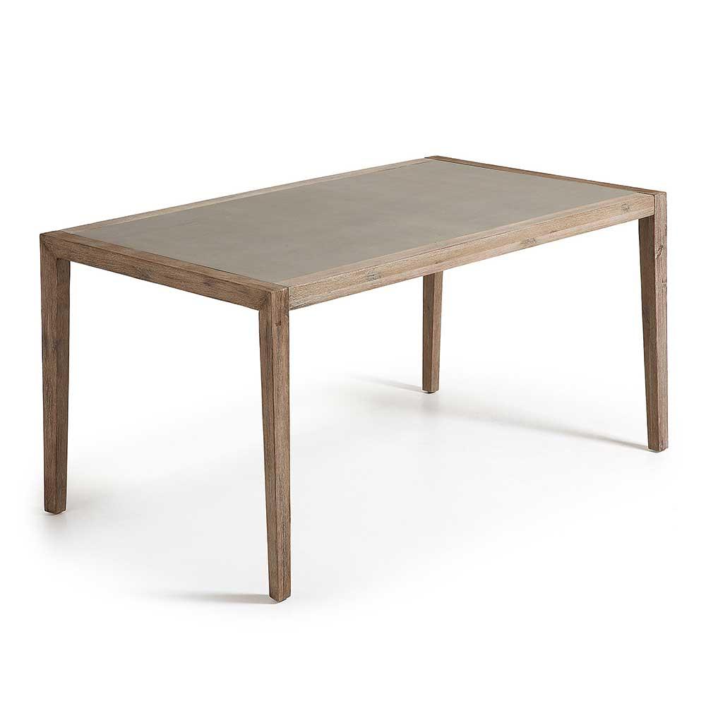 4Home Esszimmertisch aus Akazie Massivholz Leichtbeton beschichtet jetztbilligerkaufen
