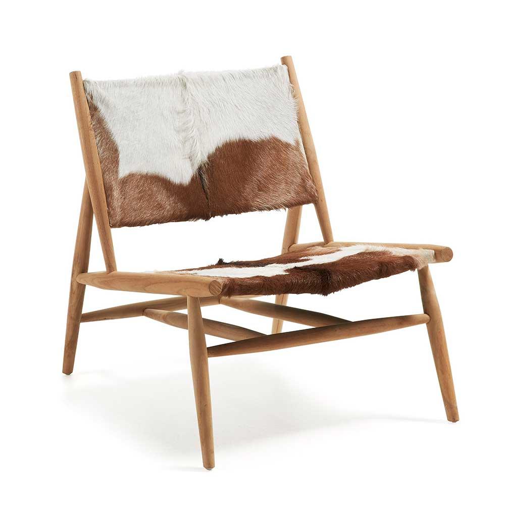 Designstuhl mit Ziegenfell Teak Massivholz | Küche und Esszimmer > Stühle und Hocker > Holzstühle | Mehrfarbig | Massivholz | 4Home