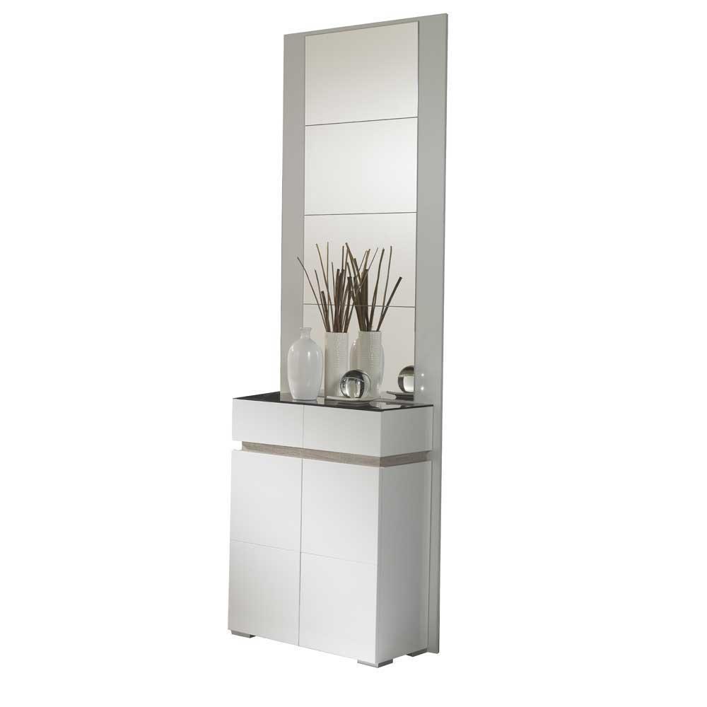 Spiegel und Schuhkommode in Weiß Hochglanz Eiche Sonoma modern (zweiteilig)