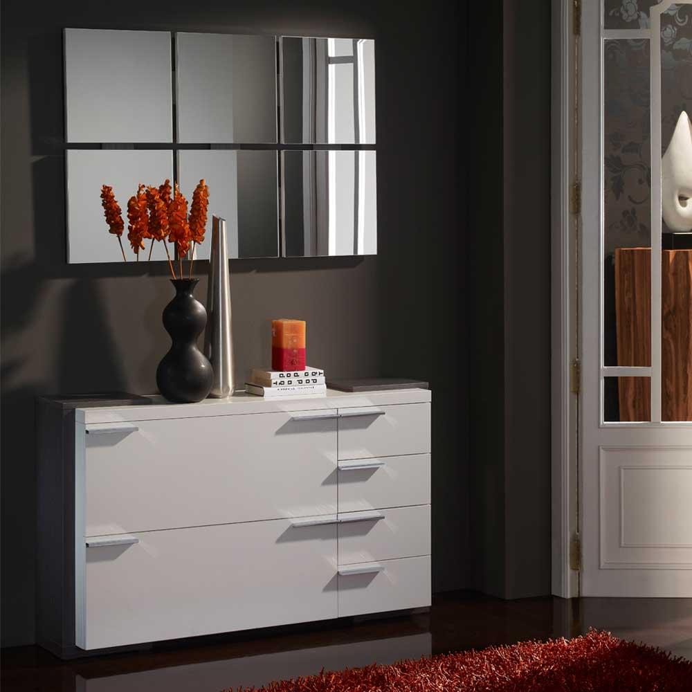 Kommode und Spiegel in Hochglanz Weiß Grau modern (zweiteilig)