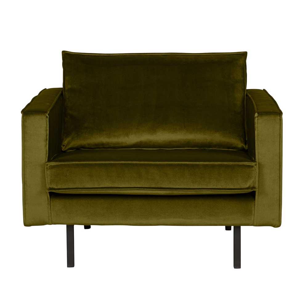 Retro Sessel in Oliv Grün Samtbezug