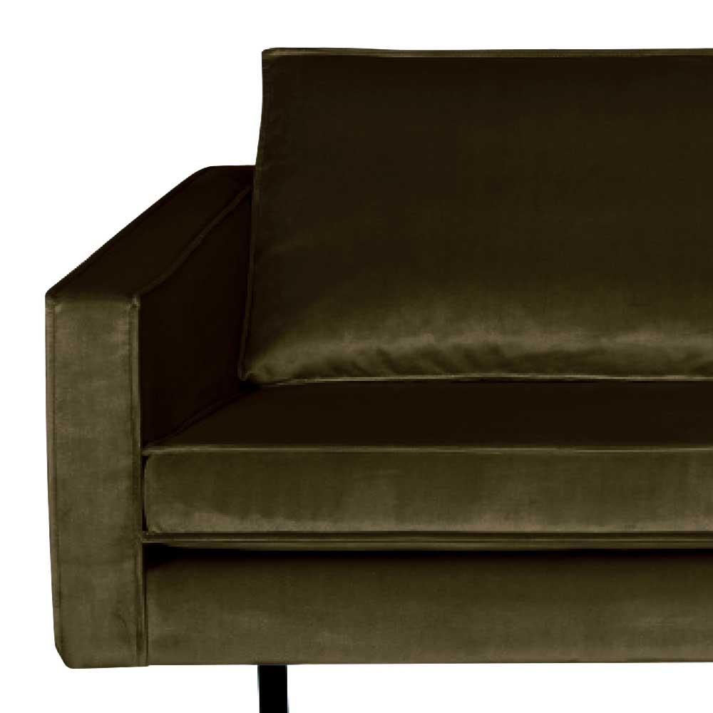 2 Sitzer Sofa in Dunkelgrün Samt Retro Look