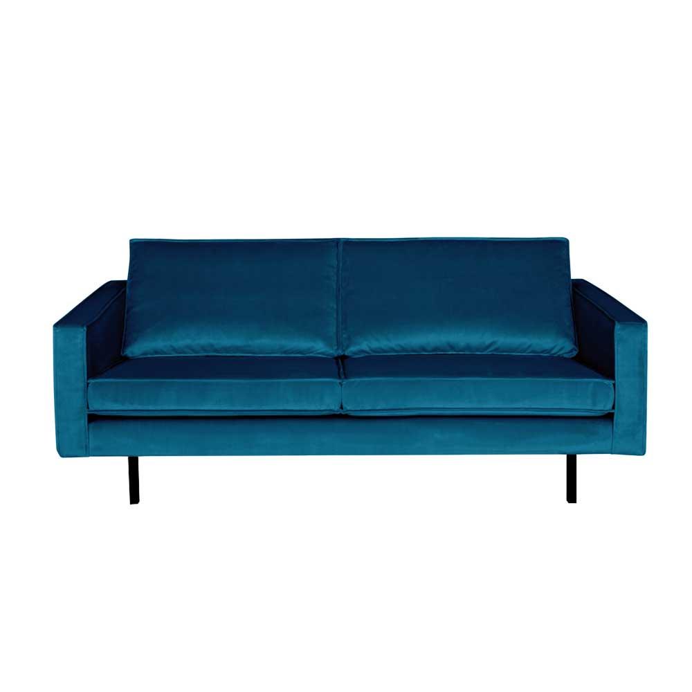 Couch in Blau Samt Retro Style