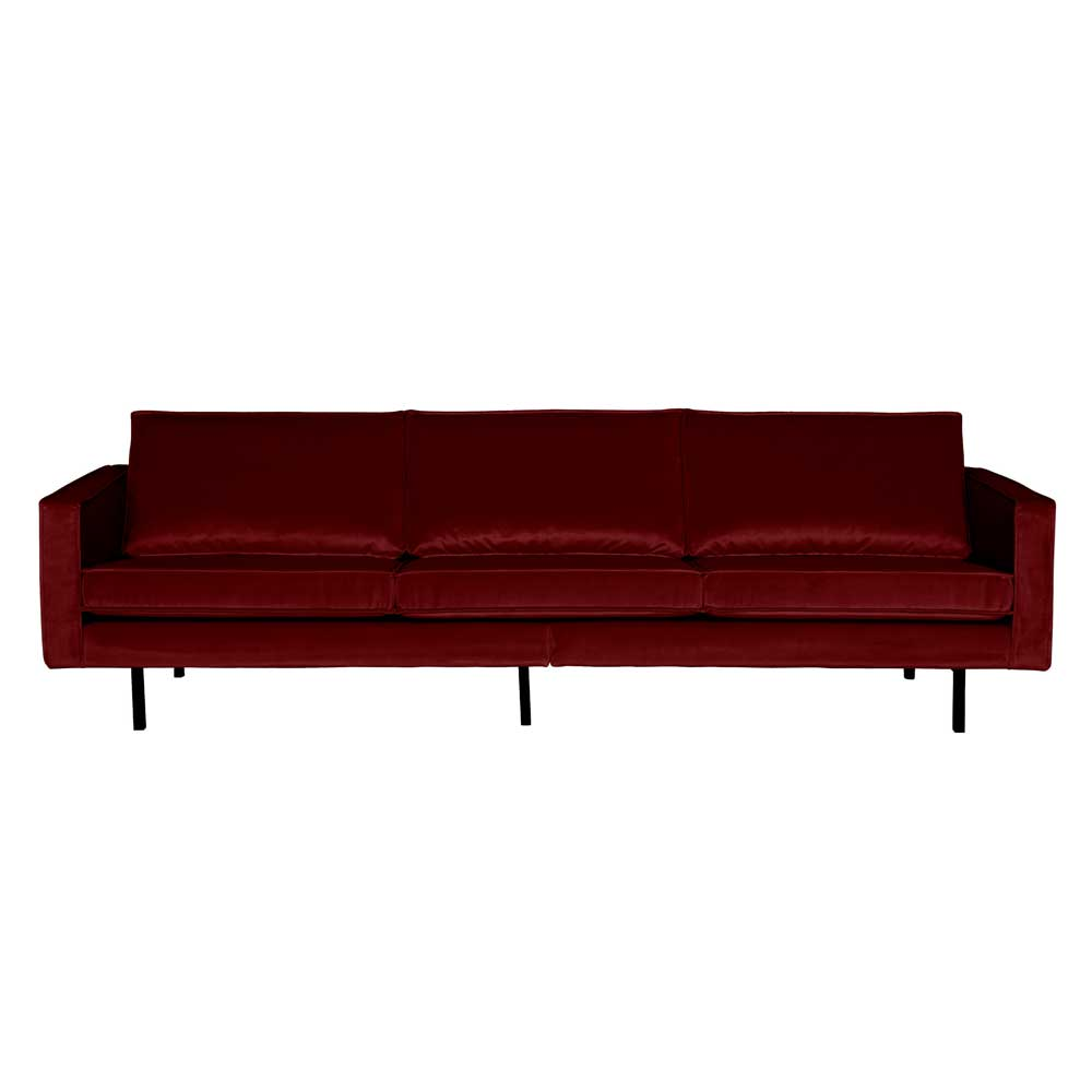 Couch im Retro Design Rot Samt