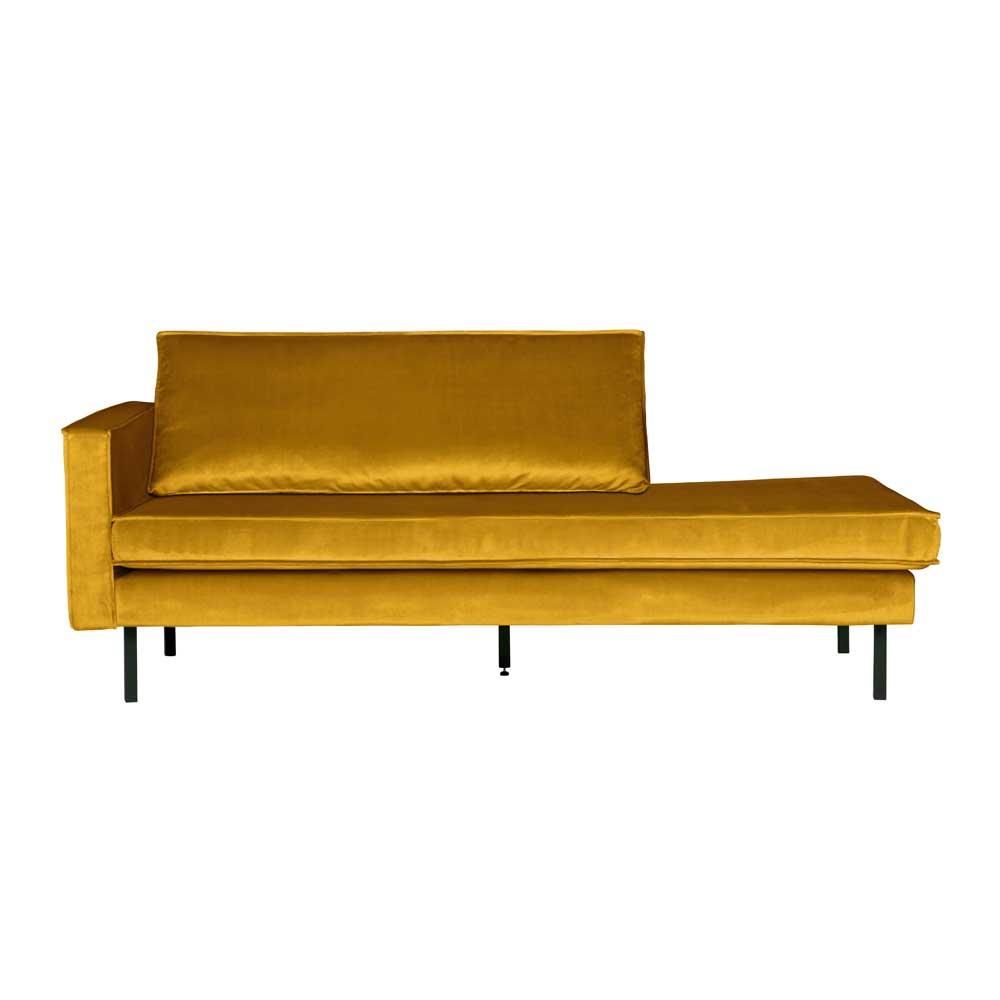 Retro Design Recamiere in Gelb Samtbezug