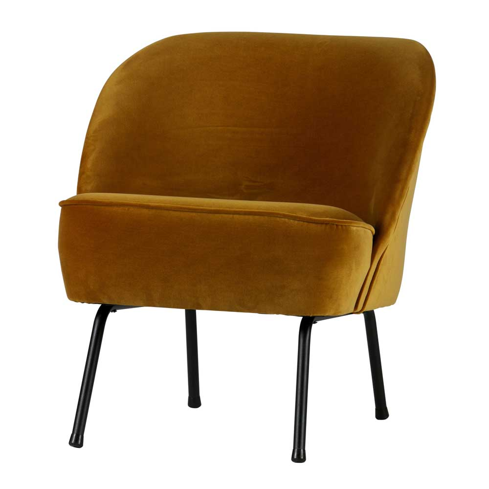 Sessel in Gelb Samt Bezug Retro Style