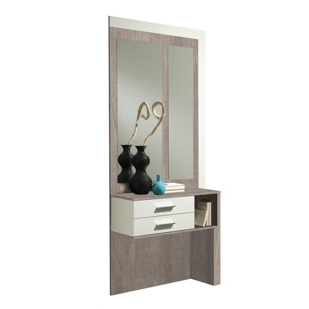 Furnitara Kompakte Garderobe in Weiß Hochglanz Eiche Sonoma (2-teilig) jetztbilligerkaufen