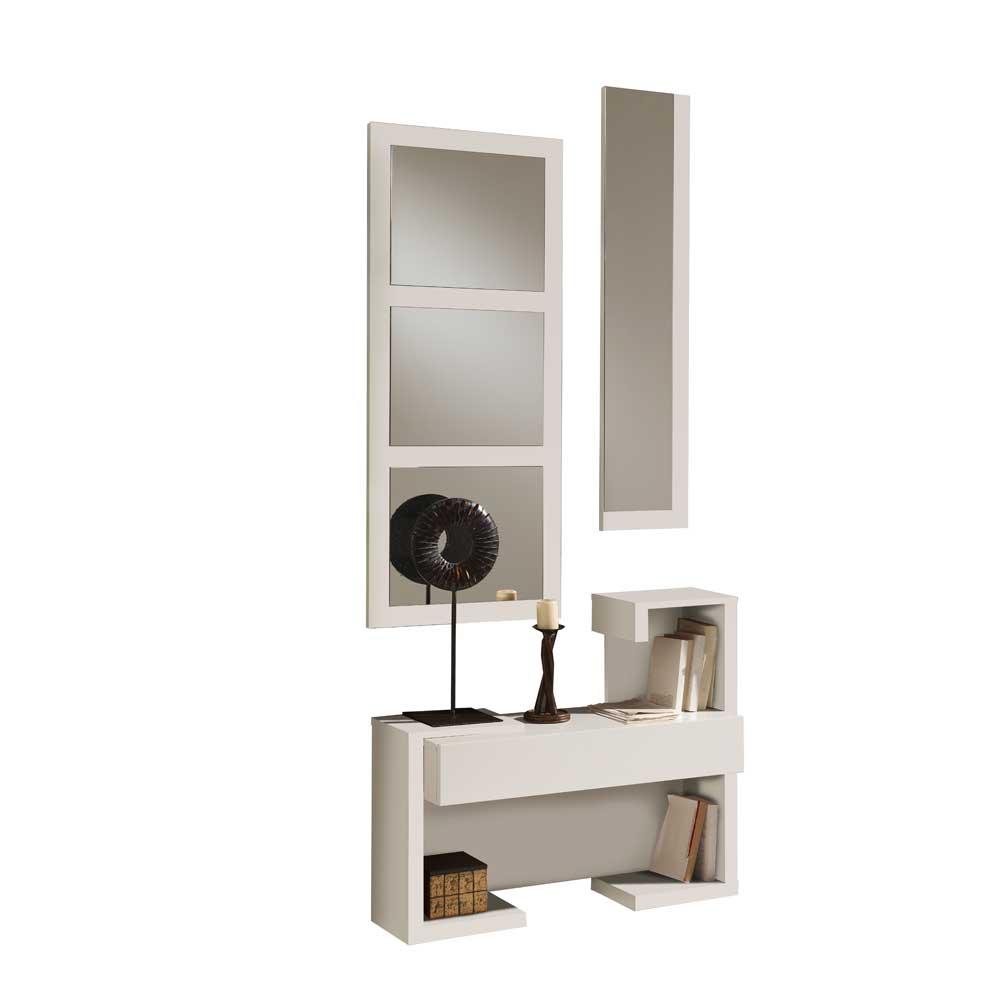 Kommode und zwei Spiegel in Weiß Hochglanz modern (dreiteilig)