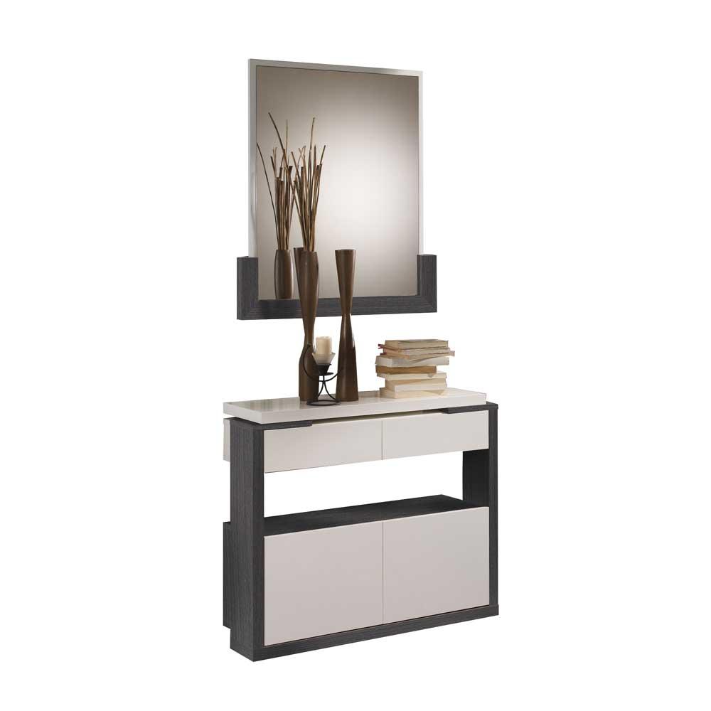 Schuhkommode und Spiegel in Grau Weiß Hochglanz (zweiteilig)