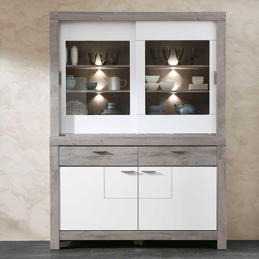Küchenbuffet in Weiß und Eiche dunkel LED Beleuchtung