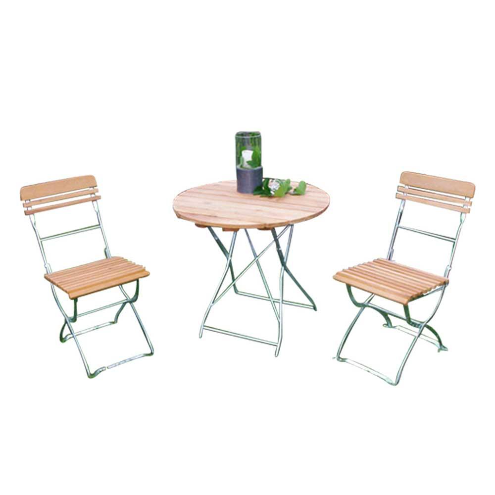 Balkongruppe mit rundem Klapptisch Klassich (3-teilig) | Garten > Balkon > Balkon-Sets | Holz | Massivholz | 4Home