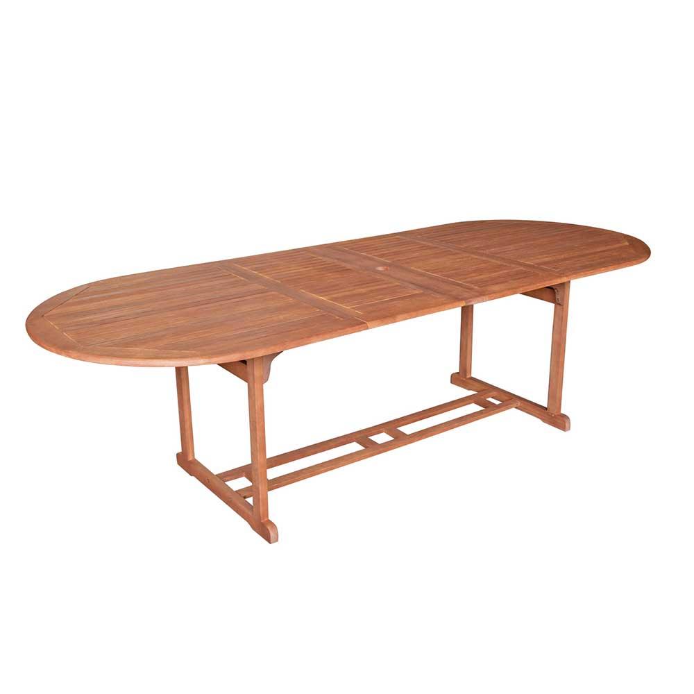 Ausziehbarer Gartentisch aus Eukalyptusholz massiv oval