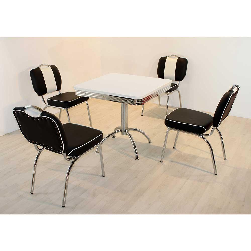 Esstisch mit Stühlen im Retro Style Schwarz Weiß gestreift (fünfteilig)