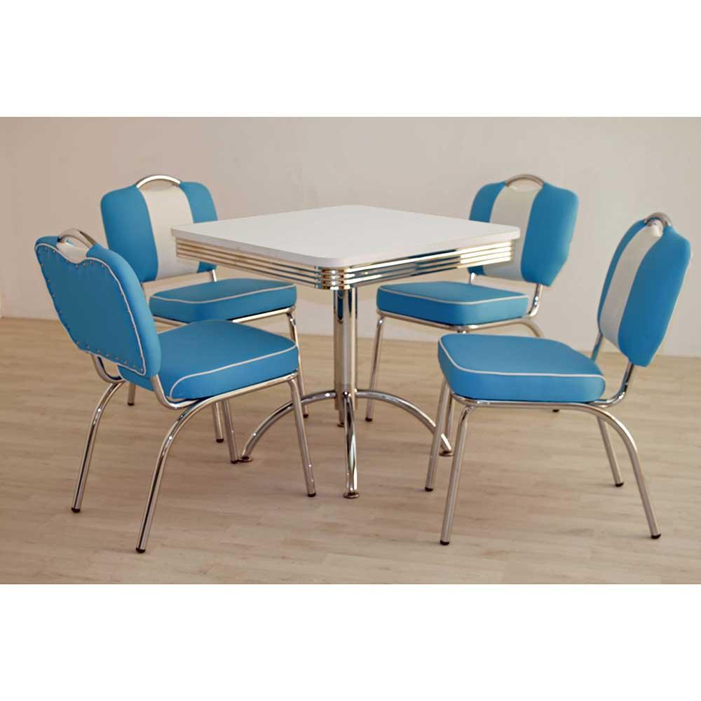 Esstisch mit 4 Stühlen in Blau Weiß gestreift Retro Look (fünfteilig)