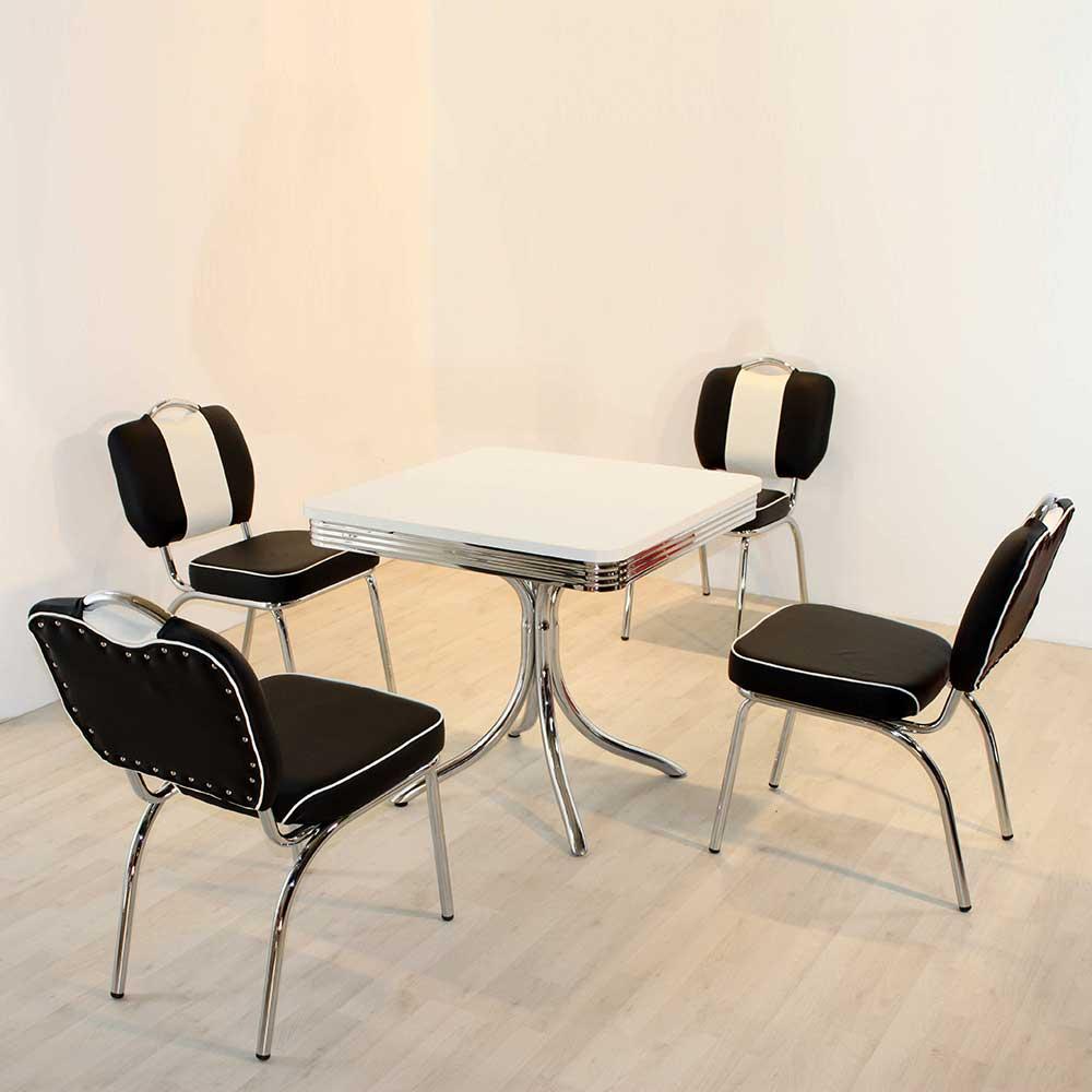 Bistrogruppe in Schwarz Weiß gestreift Retro Style (5-teilig)   Küche und Esszimmer > Essgruppen > Essgruppen   Brandolf
