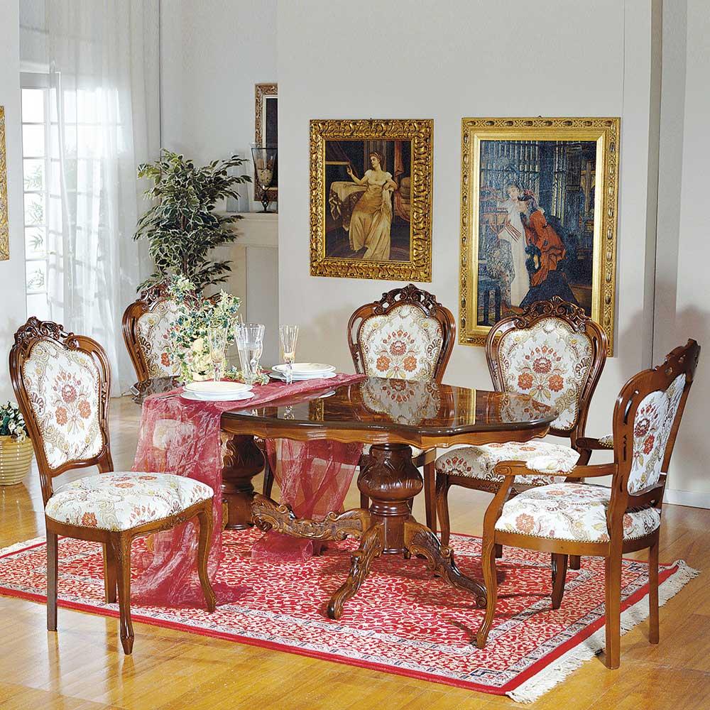 Design Essgruppe im Barock Look ovalem Tisch (6-teilig) | Küche und Esszimmer > Essgruppen > Essgruppen | Braun | Massivholz | Basilicana