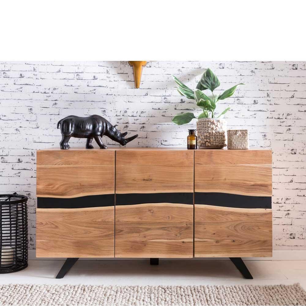 Wohnzimmer Sideboard aus Akazie massiv Metall