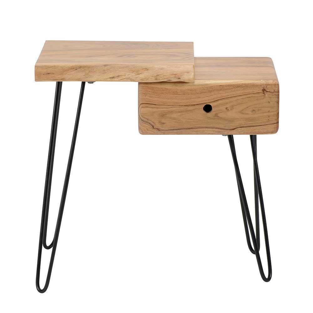 Nachttisch aus Akazie Massivholz und Metall Baumkante | Schlafzimmer > Nachttische | Metall - Akazie - Massivholz - Lackiert - Holz | Rodario
