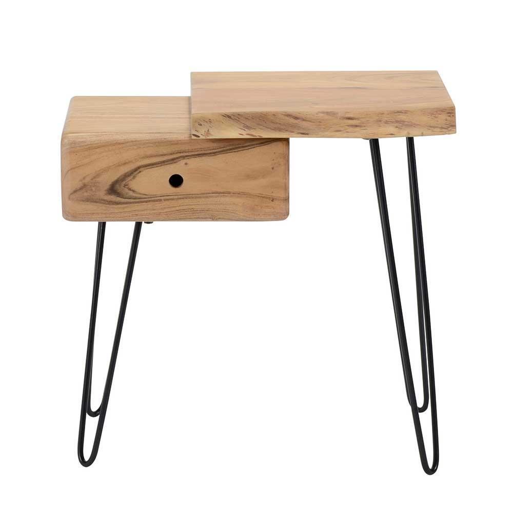 Baumkanten Nachttisch aus Akazie massiv Metall