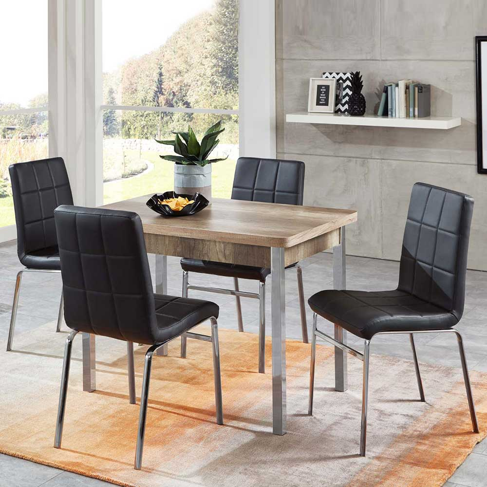 Essgruppe mit ausziehbarem Tisch Sonoma Eiche und Schwarz Kunstleder (fünfteilig)
