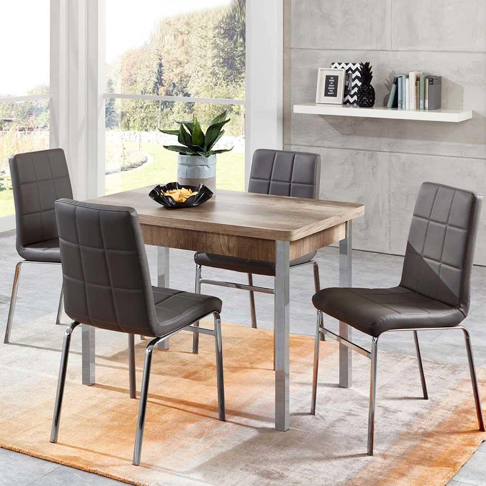 Esstisch mit Stühlen in Eiche Sonoma und Grau Kunstleder ausziehbar (fünfteilig)