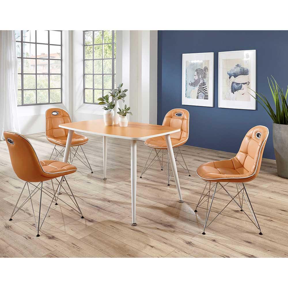 Design Essgruppe in Orange Weiß (fünfteilig)