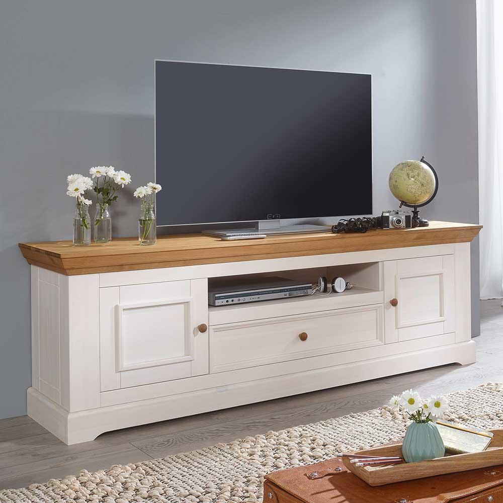 TV Lowboard in Weiß und Eichefarben Kiefer Massivholz