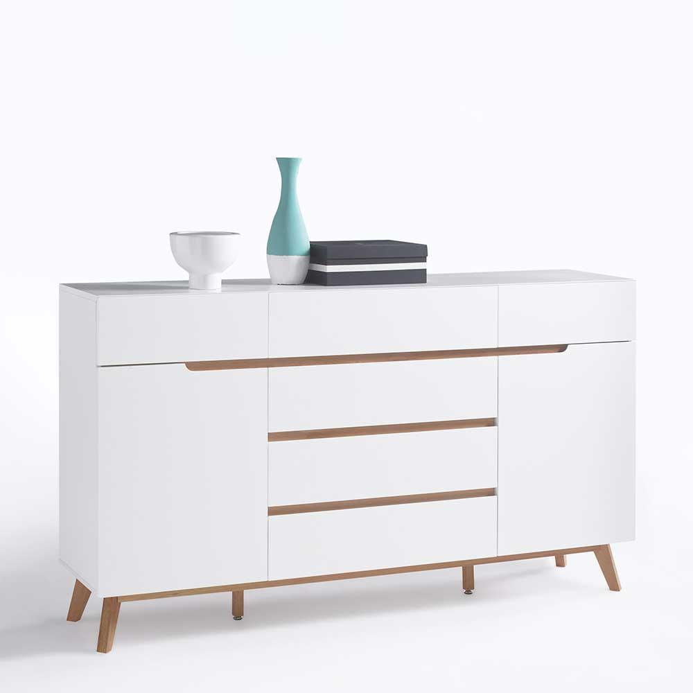 Design Sideboard in Weiß Asteiche Massivholz