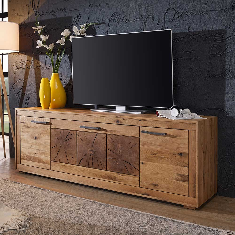 TV Board aus Wildeiche Massivholz rustikalen Look