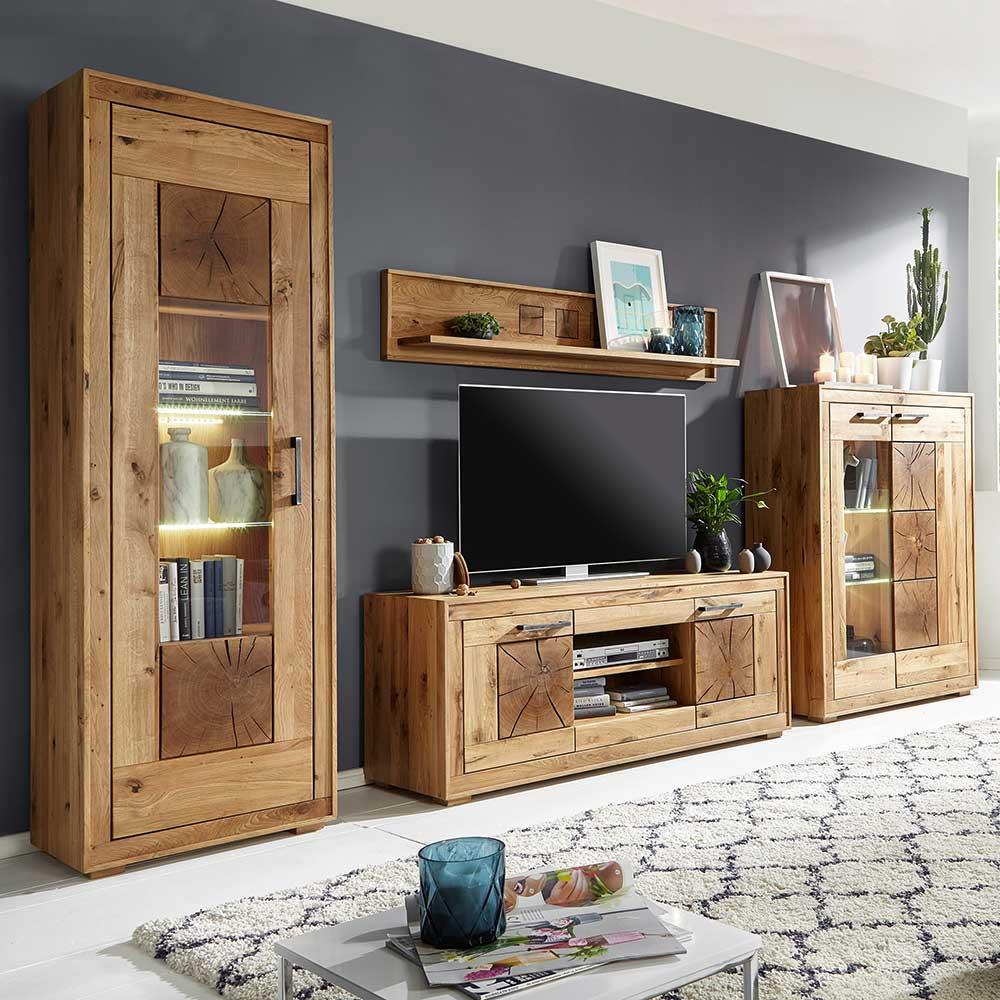 Wohnzimmer Anbauwand aus Wildeiche Massivholz rustikalen Look (7-teilig)