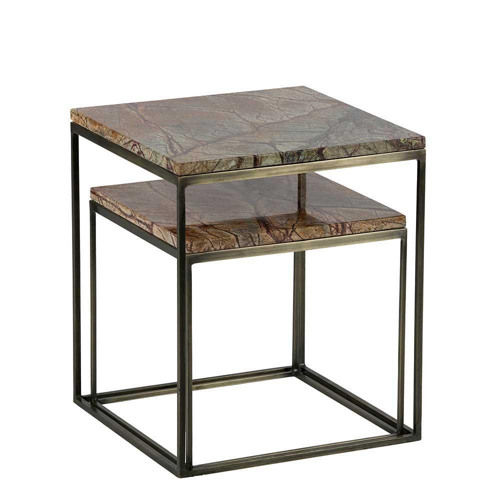 Zweisatztisch mit Mamorplatte Messingfarben (2-teilig) | Wohnzimmer > Tische > Satztische & Sets | Basilicana