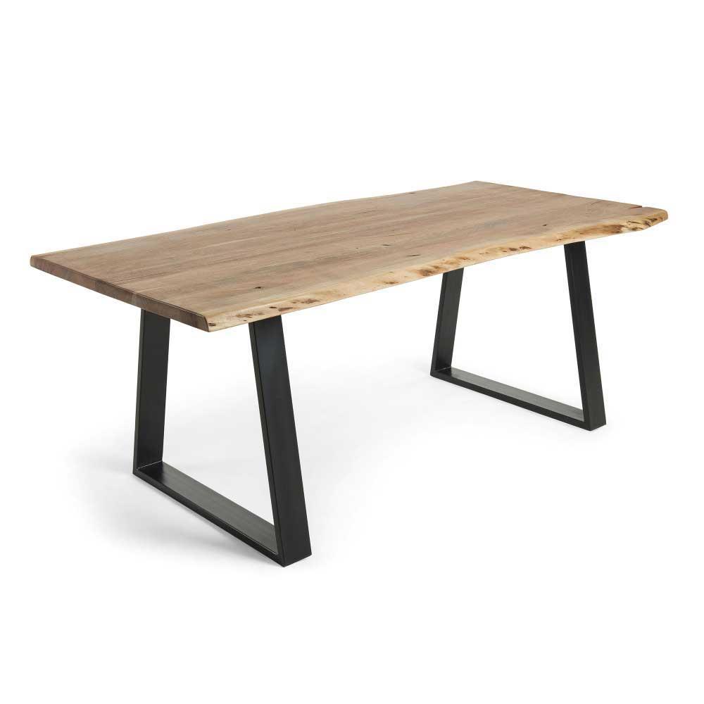 Esstisch mit Baumkante Akazie massiv Stahl Schwarz