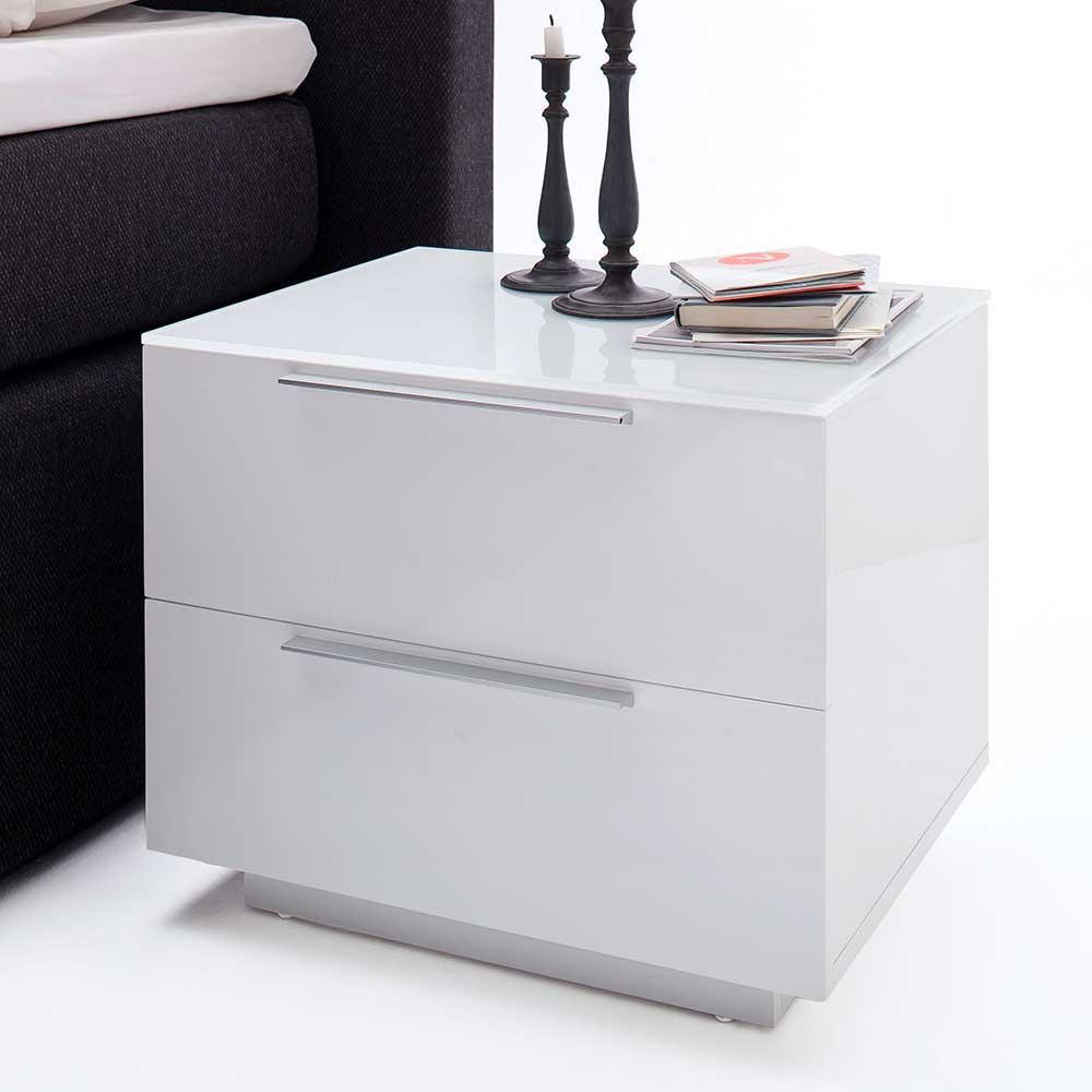 Nachttisch in Weiß 2 Schubladen | Schlafzimmer > Nachttische | Weiß | Glas - Mdf - Hochglanz - Lackiert | TopDesign
