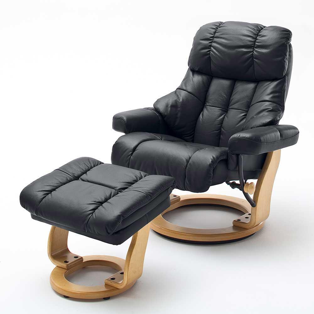 TV Sessel in Schwarz Leder Relaxfunktion (zweiteilig)