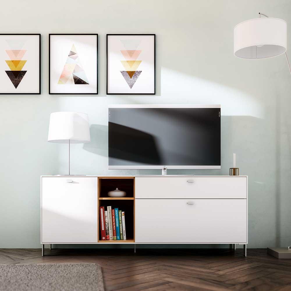 TV Schrank in Weiß und Eiche modern | Wohnzimmer > TV-HiFi-Möbel > TV-Schränke | Weiß | Spanplatte - Holzwerkstoff | Möbel Exclusive