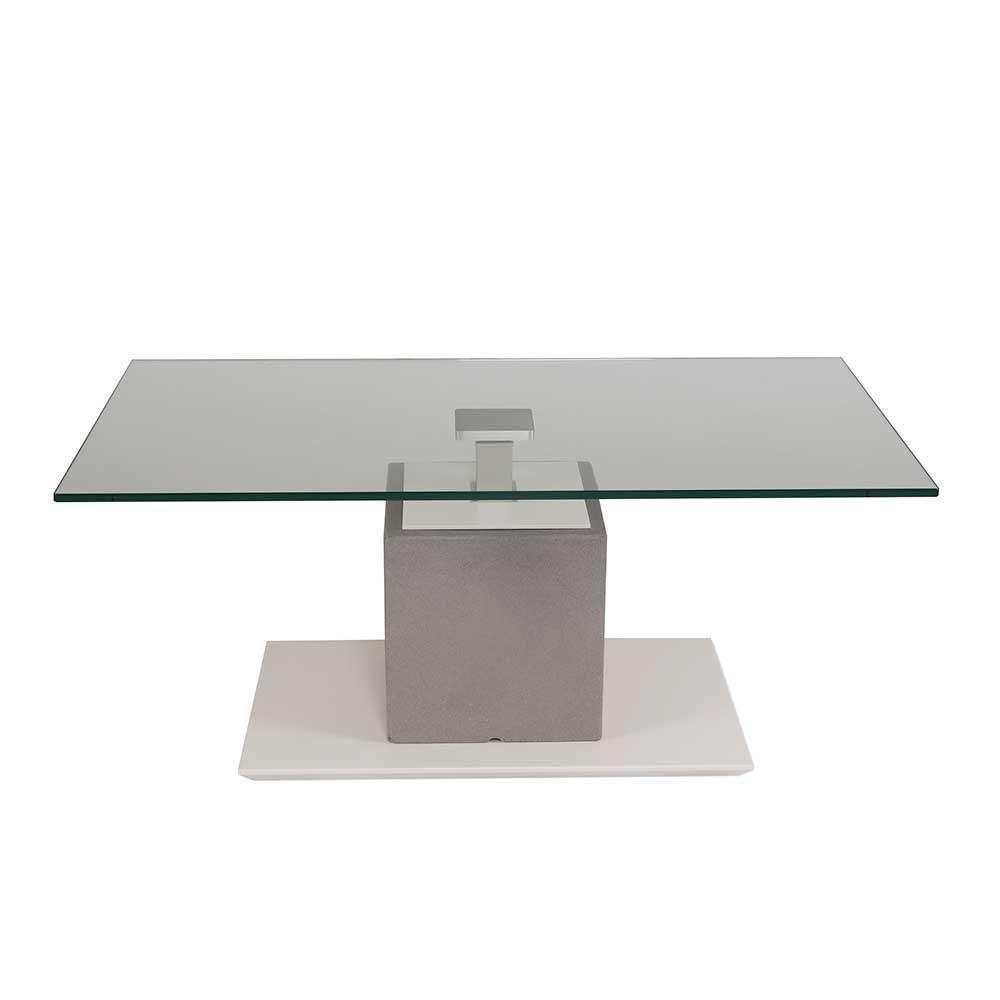 Funktion Couchtisch mit Glasplatte höhenverstellbar
