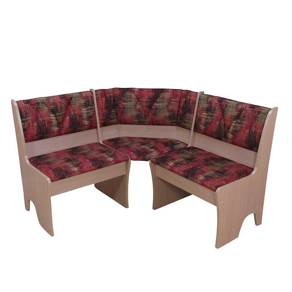 Eck Truhenbank in Rot gemustert Buche | Küche und Esszimmer > Sitzbänke > Truhenbänke | Holz | Holzwerkstoff | Möbel4Life